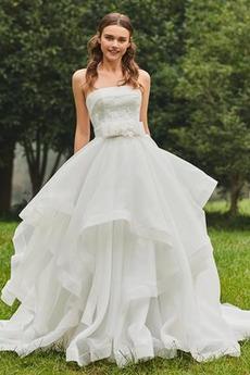 Robe de mariée Sablier Plage Pompeux Sans Manches Longue Orné de Nœud à Boucle