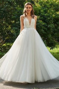 Robe de mariée Sans Manches Glissière A-ligne Col en V Plage Triangle Inversé