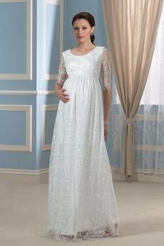 Robe de mariée Manche Longue Elégant Manche Aérienne Traîne Courte
