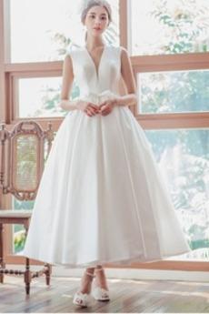 Robe de mariée Simple Norme Plage Lacet aligne Nœud à Boucles