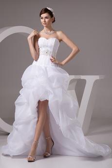 Robe de mariée Sans Manches Printemps Perle Manquant Asymétrique