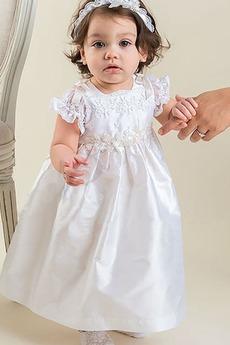 Robe de baptême Naturel taille Appliques Longueur Cheville Princesse
