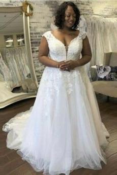 Robe de mariée Dos nu Été Traîne Courte Appliques Col en V Cérémonial