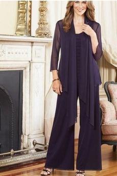Robe de mère pantalon de costume 3/4 Manche Chiffon Longueur Cheville