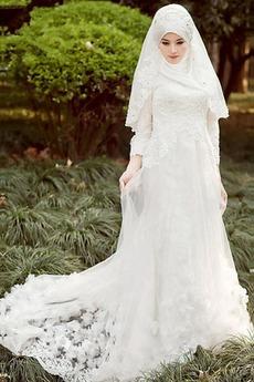 Robe de mariée Naturel taille Tulle Perle Haute Couvert Col haut