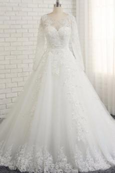 Robe de mariée Naturel taille Manche Longue Rectangulaire Elégant