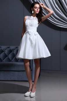 Robe de mariée Été Tube droit mini Satin Élastique aligne Blanche
