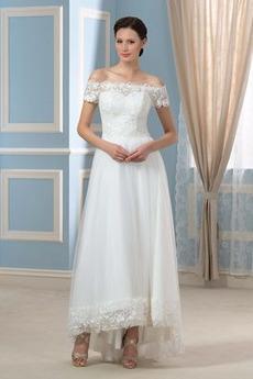 Robe de mariée Asymétrique Appliques Tulle Mode Plage Couvert de Dentelle