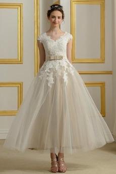 Robe de mariée Longueur Mollet Manche Aérienne Orné de Nœud à Boucle