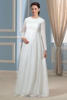 Robe de mariée Simple Printemps Perles À la masse Chiffon Manche de T-shirt