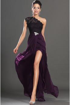 Robe de Bal Epurée Traîne Courte Ouverture Frontale Violette africaine