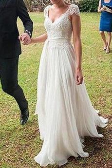 Robe de mariée Naturel taille Elégant Chiffon Longueur ras du Sol