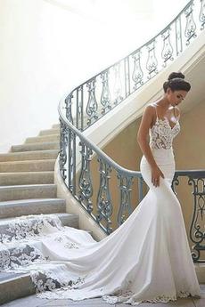 Robe de mariée Sirène Fermeture éclair Couvert de Dentelle Bretelles Spaghetti