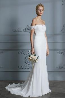 Robe de mariée Manquant Dos nu Épaule Dégagée Naturel taille Longue