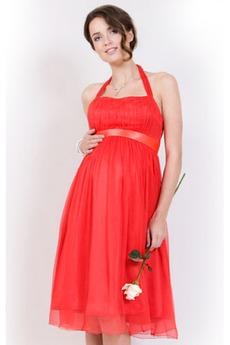 Robe de Soirée Rouge Chiffon Glamour semi-halter Maternité De plein air