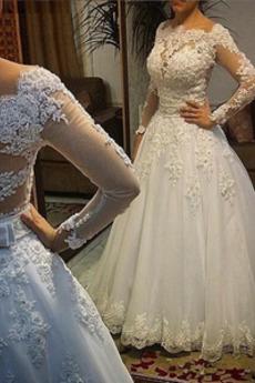 Robe de mariée Naturel taille Manche Aérienne Corsage Avec Bijoux