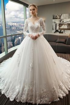 Robe de mariée Manche Longue Appliques Cérémonial Eglise Décolleté Dans le Dos