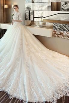 Robe de mariée Tulle Formelle aligne Naturel taille Appliques