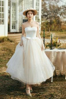 Robe de mariée Tulle Bustier aligne Multi Couche Longueur Mollet Été