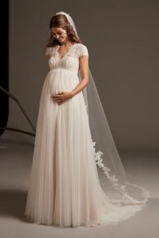 Robe de mariée Mancheron noble Longue Manche Courte Trou De Serrure