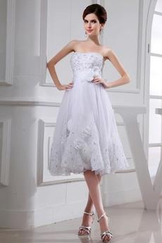 Robe de mariée Bustier Nœud à Boucles Glamour A-ligne Corsage Avec Bijoux
