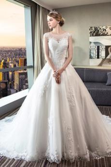 Robe de mariée Col Bateau Couvert de Dentelle Appliques Médium