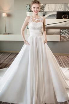 Robe de mariée Chaussez Poches Satin Cérémonial a ligne Salle
