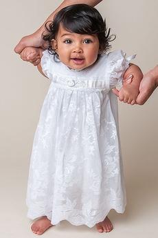 Robe de baptême Orné de Rosette Été Longueur Cheville Manche Courte