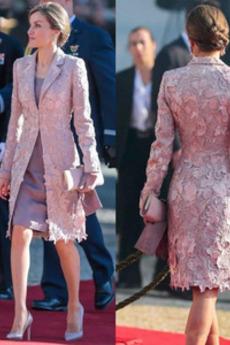 Robe Mère de Mariée Tissu Dentelle Luxueux Longueur Genou 2 Pièces Manquant