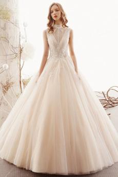 Robe de mariée Triangle Inversé Longueur ras du Sol Tulle noble Naturel taille