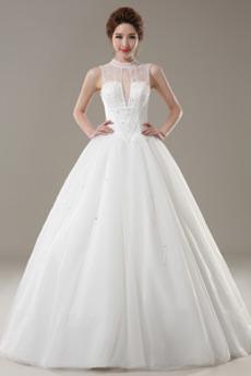Robe de mariée aligne Traîne Courte Elégant Lacez vers le haut