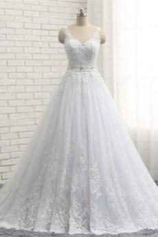 Robe de mariée Traîne Mi-longue aligne Sans Manches Couvert de Dentelle