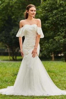 Robe de mariée Glamour Norme Appliques Rivage Fermeture éclair