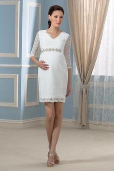 Robe de mariée Ample & Ornée Classique Empire Grossesse Haut Bas