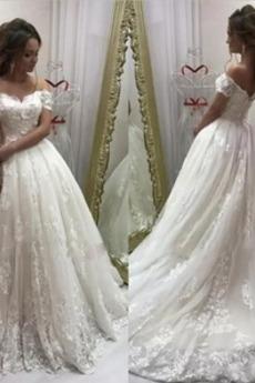 Robe de mariée Formelle Naturel taille a ligne Manche de T-shirt