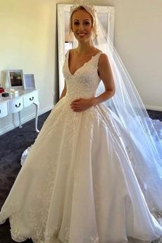Robe de mariée Dos nu Longue Satin Col en V Été A-ligne