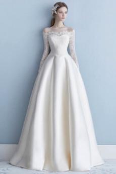 Robe de mariée Naturel taille Longue Manche Aérienne Tissu Dentelle