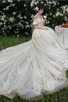 Robe de mariée Froid Lacez vers le haut Tulle Cérémonial Manche Courte