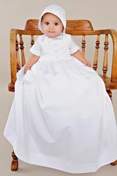 Robe de baptême Bouton Longueur au sol Manche Courte Long Princesse