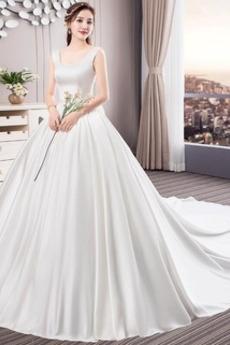 Robe de mariée A-ligne Chaussez Naturel taille Col Carré Sans Manches