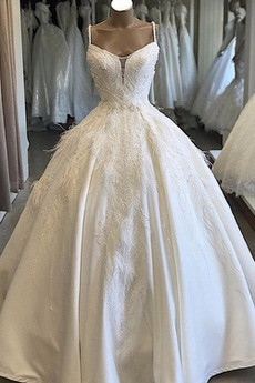 Robe de mariée Traîne Longue Corsage Avec Bijoux A-ligne Formelle