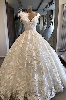 Robe de mariée Longueur au sol Col en V Foncé Manquant Lacet Elégant