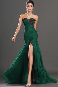 Robe de Soirée Jade Sans Manches Tube droit Glamour Chiffon Zip