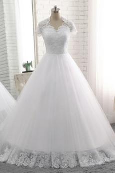 Robe de mariée Col Élisabéthain Satin Sage Naturel taille Manche Courte