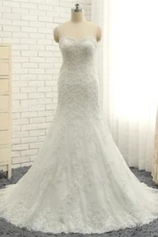 Robe de mariée Bustier Fourreau Avec Bijoux Appliques Tulle Epurée