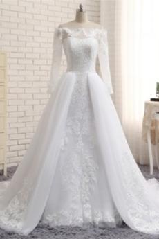 Robe de mariée Longue aligne Appliquer Zip Jardin Naturel taille