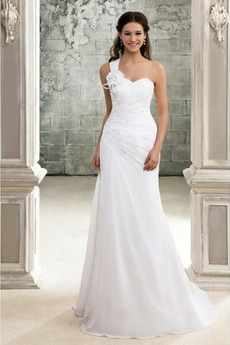 Robe de mariée Dos nu Chiffon Traîne Courte Printemps A-ligne