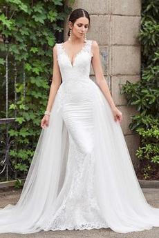 Robe de mariée Sirène Dos nu Naturel taille Rivage Appliques Tulle