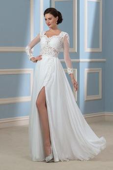 Robe de mariée Manche Longue Ouverture Frontale Chiffon Manche Aérienne