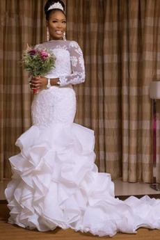 Robe de mariée Gazer Salle Perle Naturel taille Manche Longue
